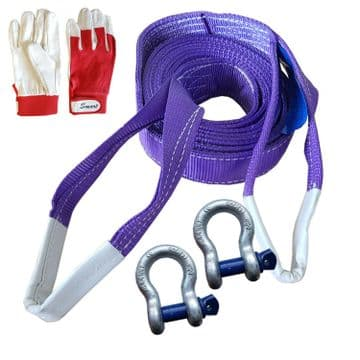 4 x 4 RECOVERY WINCH TOWING 7T x 2 metre TOW STRAP STROP + SHACKLES +  GLOVES
